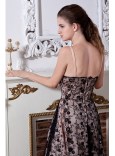 Champagne and Black Lace Short Bridal Gown with Spaghetti Straps IMG_1874