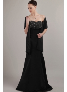 Charming Formal Black Mother of Bride Dress with Shawl IMG_3131