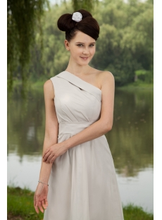 Charming Gray One Shoulder Modest Bridesmaid Dress IMG_0703