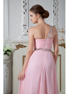 Cheap Pink One Shoulder Graduation Dress for College IMG_1883