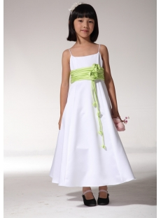 Cheap White and Green Vintage Flower Girl Dresses fgjc890109