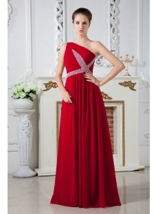 Chiffon Red One Shoulder Formal Evening Dress IMG_1868