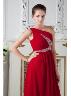 Chiffon Red One Shoulder Formal Evening Dress IMG_1868