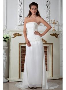 Chiffon Strapless Destination Wedding Dresses with Train IMG_1498