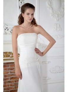 Chiffon Strapless Destination Wedding Dresses with Train IMG_1498