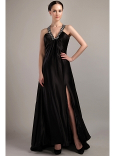 Criss cross strap Black V-Neckline Military Prom Dress IMG_3044