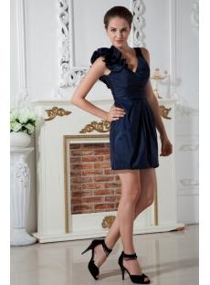 Dark Blue Mini Cocktail Dress with V-neckline IMG_2010