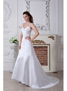 Discount Cap Sleeves Simple Bridal Gown with V Back IMG_1746