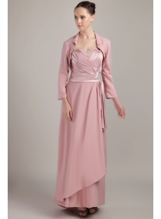 Dusty Rose Elegant Mother of Bride Dress with Long Sleeves Jacket IMG_3487