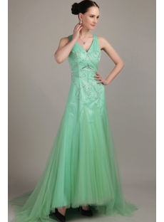 Sage Long V-Neckline Beautiful Prom Dress For Large Size Lady IMG_3184