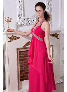 Fuchsia Plus Size Prom Gowns with Halter IMG_1986