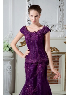 Grape Modest Scoop Plus Size Mother of Bride Dress with Train IMG_1934