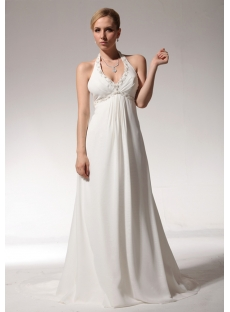 Halter Backless Chiffon Wedding Dresses for Pregnant bdjc890808