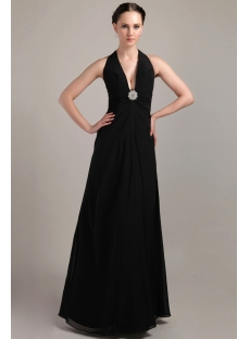 Halter Chiffon Long Formal Evening Dress with V-neckline IMG_3376