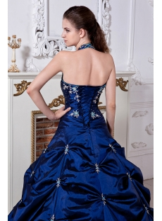 Halter Pretty Royal Blue Ball Gown Quinceanera Dress with Embroidery IMG_1945