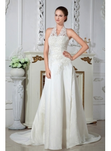 Halter Vintage Lace Wedding Dresses IMG_1528