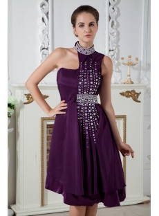 High Neckline Grape Special Asymmetrical Pretty Prom Dress IMG_1980