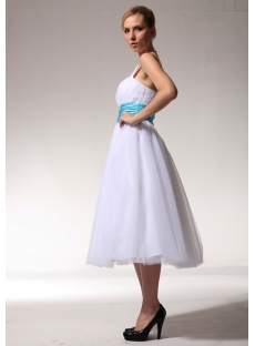 Ivory One Shoulder Tea Length Bridal Gown with Turquoise pmjc891409