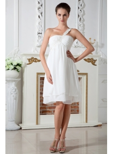 Ivory Simple One Shoulder Short Maternity Wedding Dress IMG_1969