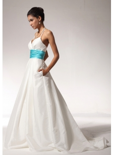 Ivory and Turquoise Halter Princess Bridal Wedding Dress with Pocket bdjc891408