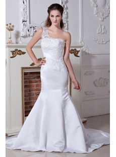 Lace One Shoulder Trumpet Bridal Gown For Beach IMG_1904