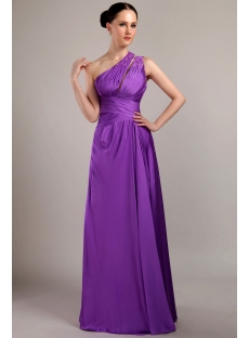 Long Violet Graduation Dress with One Shoulder IMG_3026