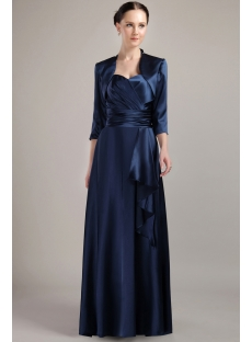 Navy Blue Elegant Long Mother of Bride Dresses with Jacket IMG_3062