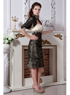 Olive Green and Champagne Short Mother of Brides Dress with Jacket IMG_2066