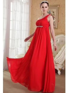 Romantic Red Chiffon Maternity Prom Dress with One Shoulder IMG_3633