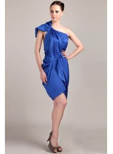 Royal Blue Tea Length Mother of Groom Dress with One Shoulder IMG_3360
