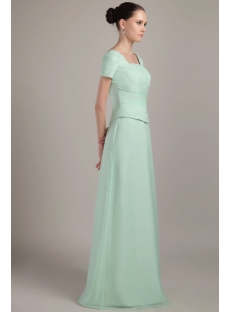 Sage Modest Long Mother Of Bride Dress with Short Sleeves IMG_2185