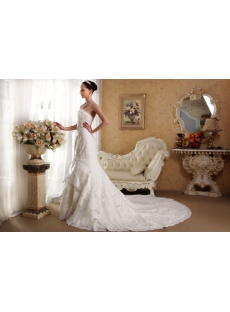 Sheath Strapless Vintage Style Lace Wedding Dress IMG_3548