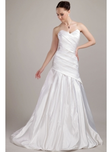 Simple Long Mature Bridal Gowns with Train IMG_3095