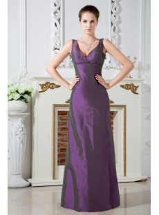Simple Long Purple V-neckline Bridesmaid Gown 2012 IMG_1777