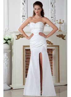 Split Front Ivory Sweetheart Casual Beach Wedding Dresses IMG_142