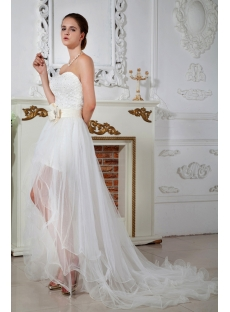 Strapless High Low Wedding Dresses 2013 with Front Split IMG_1679