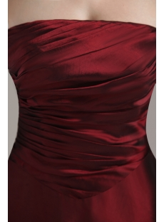 Strapless Long Burgundy Inexpensive Bridesmaid Gowns under $100 IMG_3053