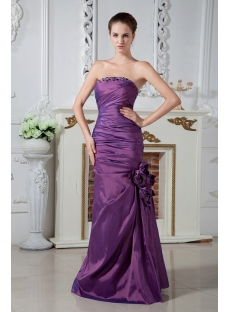 Strapless Purple Mermaid Celebrity Dress with Floral IMG_1909