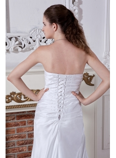 Strapless Satin Column Affordable Bridal Gown with Corset Back IMG_1932