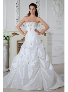 Strapless White Princess Bridal Gown with Train IMG_1492