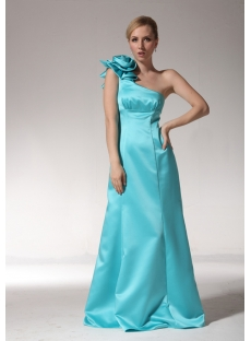 Teal Blue One Shoulder Long 2012 Evening Dress bmjc891108
