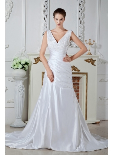 V-neckline Destination Wedding Dresses 2012 Beach IMG_1593