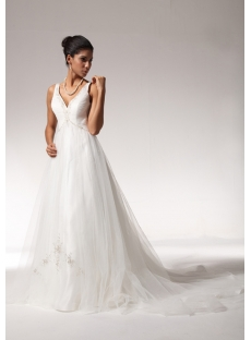 V-neckline Maternity Bridal Gowns 2013 with Train bdjc890308