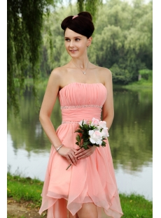 Water Melon Sweet High-low Hem Graduation Dress IMG_0836
