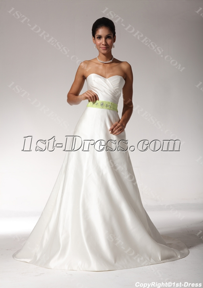 2012 sweetheart beach wedding dresses with green color for Green beach wedding dresses