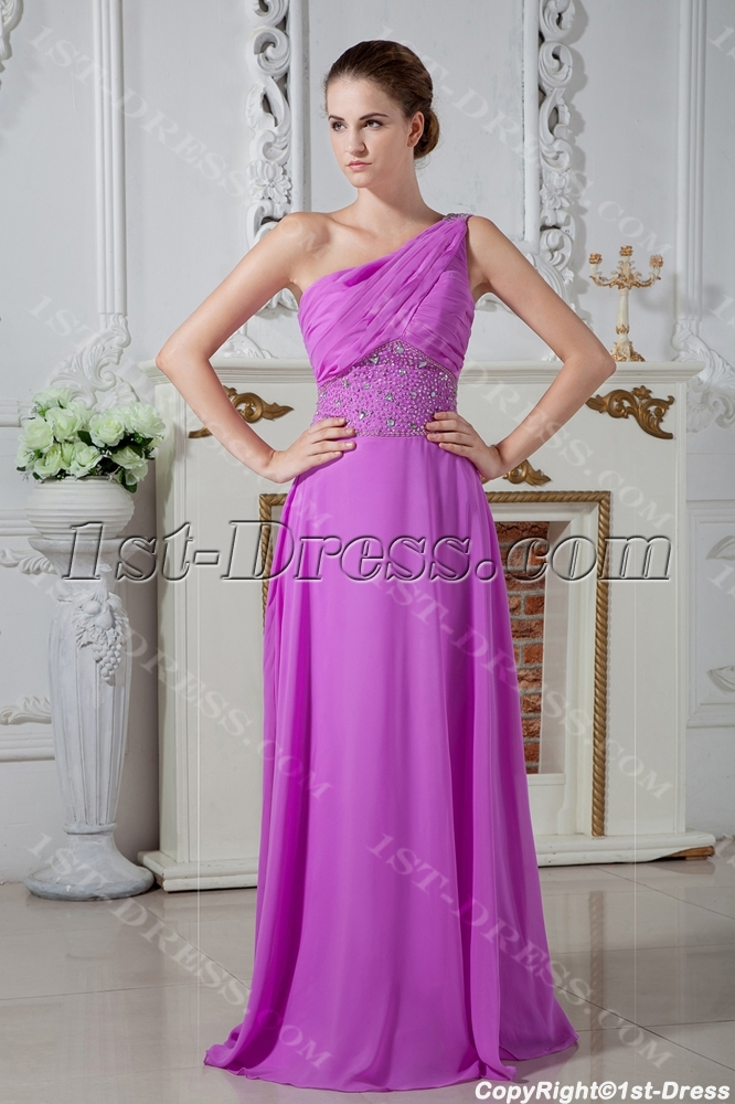 ... Dresses > Celebrity Dresses >2013 Long Lilac One Shoulder Graduation