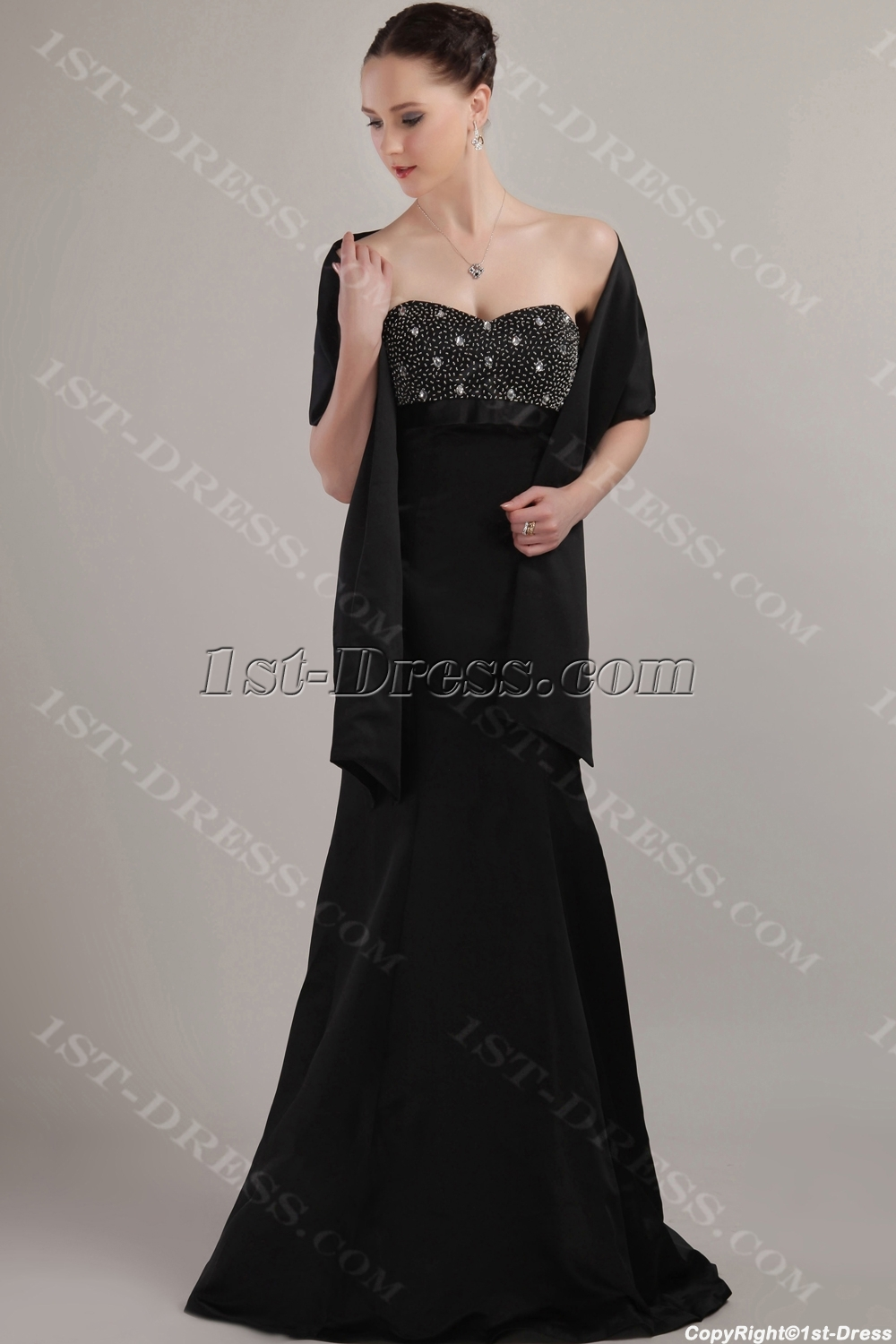 Charming Formal Black Mother of Bride Dress with Shawl IMG_3131:1st ...
