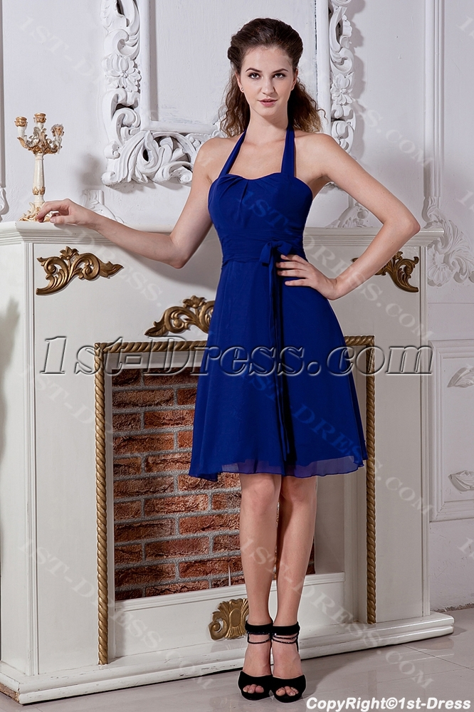 Royal Blue Short Halter Dress