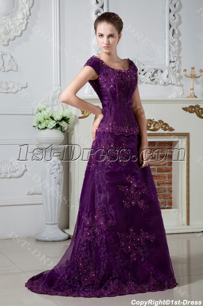 Grape Modest Scoop Plus Size Mother Of Bride Dress With Train