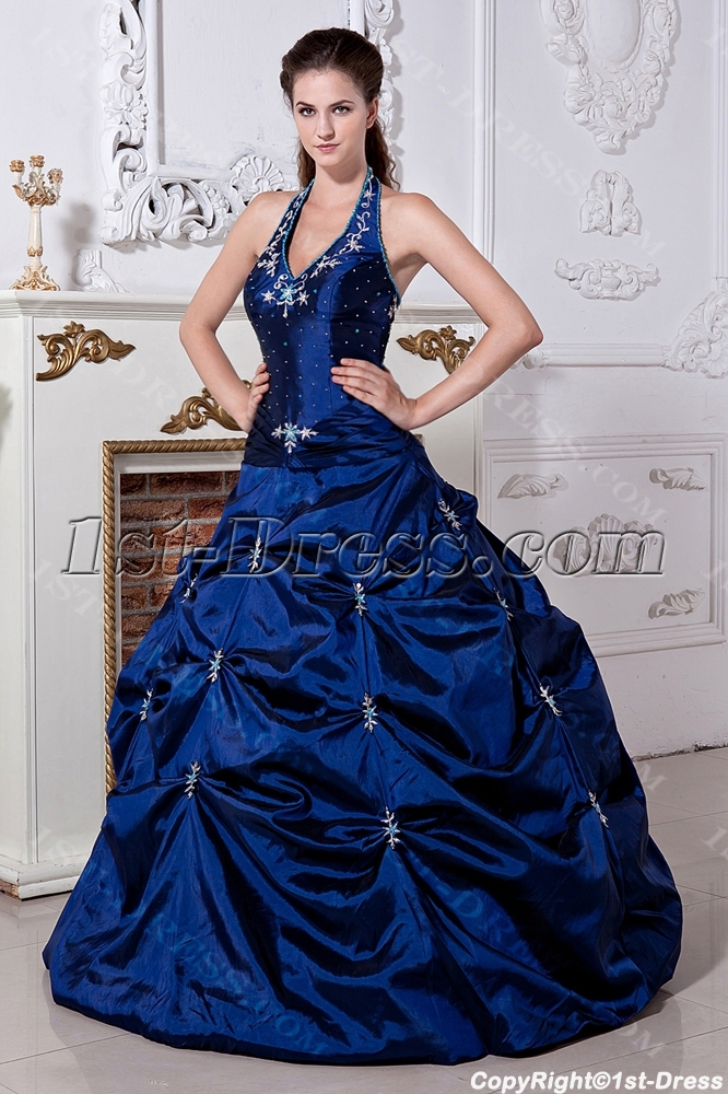 Halter Pretty Royal Blue Ball Gown Quinceanera Dress with Embroidery ...